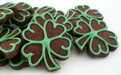 Decorated Shamrock Cookies Chocolate   Decorated Cookies Green Outlined Chocolate by katieduran on Etsy, $14 ...