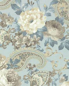 Gatsby's Flora - Tea Roses & Paisleys - Dove Gray