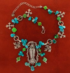 Mummy's Bundle Virgin and Turquoise Guadalupe Necklace