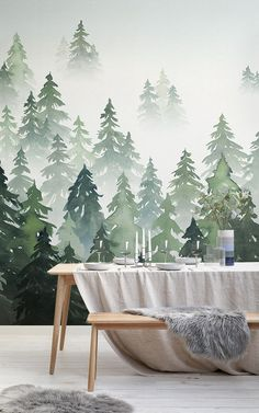Browse & shop our range of watercolor wallpaper. Create a stunning interior with our amazing abstract & ombre watercolor wall murals. Scandi Wallpaper, Tree Wallpaper Mural, Scandinavian Wallpaper, Dining Room Wallpaper, Forest Wallpaper, Watercolor Wallpaper, Watercolor Walls, Grey Wallpaper, Painting Wallpaper