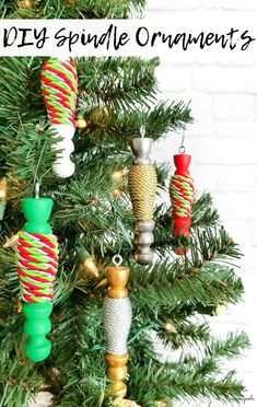 A coffee mug tree from the thrift store can be upcycled into TWO DIFFERENT CHRISTMAS CRAFTS, including these wooden spindle ornaments. Talk about a great use of resources and fun projects during the holiday season! #diychristmasornaments #diyornaments #upcycledcrafts #spindle #bakerstwine #christmasornament #ornamentcrafts #xmasornaments #christmascraftideas #christmascraftsdiy #chalkpaint #holidaycrafts #holidaycraftsdiy
