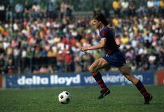 Johan Cruyff in action for FC Barcelona during the 1977/1978 season