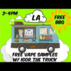 Come by the shop Saturday 8/9 2-4pm 10956 Pico blvd  @madscientistvapor coming with IGOR the truck  FREE BBQ AND VAPE SAMPLES come make some clouds with us !! 10% off if you mention the insta #vapelife #drippers #drip #eliquid #clouds #cloudkings #free #pipes #bongs #bbq #buns #vapor #ecig #vape #deals #burgers #drinks #picoftheday #instagood #repost. : @jayreade #Padgram