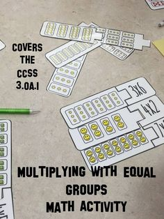 In this multiplication math center students match up groups of numbers with the associated multiplication problem, for example 3x7 is three groups of seven items. The game contains 30 problems that can be used during center work. Also included are a direc