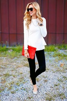 tiered peplum top in white / Chicwish / fall outfit ideas