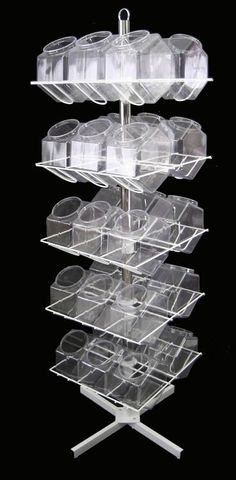 Easy assembly makes this revolving 30 bucket display rack perfect for retail stores, trade shows or any place a wide variety of items are sold. Candy Display, Pop Display, Display Shelves, Display Stands, Display Ideas, Candy Stand, Portable Display, Point Of Purchase, Slat Wall