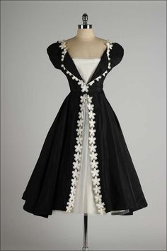 Vintage 1950's Black Taffeta White Macrame Flower Dress | From a collection of rare vintage evening dresses at http://www.1stdibs.com/fashion/clothing/evening-dresses/