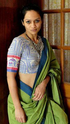 Cotton Saree Blouse, Saree Blouse Patterns, Saree Dress, Saree Blouse Designs, Indian Dresses, Indian Outfits, Ethnic Fashion, Indian Fashion, Thai Dress
