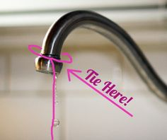 To stop the annoying sound of a dripping tap, tie a piece of string around the faucet which is long enough to reach down to the sink.