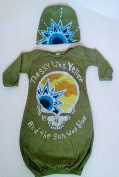 Children's Grateful Dead Sky Was Yellow Sun was Blue Scarlet Begonia Batik Gown with Hat by TreeTownBatiks on Etsy https://www.etsy.com/listing/210715838/childrens-grateful-dead-sky-was-yellow