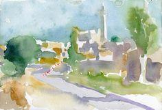 El-Khader Palestina 2014 watercolour on paper 26 x 18 cm Watercolour, Paper, Painting, Art, Palestine, Pen And Wash, Art Background, Watercolor Painting, Watercolor