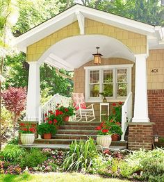 inviting Craftsman front porch