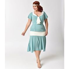 Unique Vintage Plus Size 1920s Seafoam & Ivory Wilshire Flapper Day... ($78) ❤ liked on Polyvore featuring plus size women's fashion, plus size clothing, plus size dresses, 1920s dress, vintage dresses, flapper dresses, white dress and plus size gatsby dress