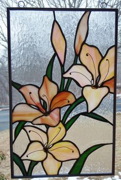 Stained Glass Floral Daylilies Panel by AtticStudioGlass on Etsy, $65.00