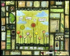 Mixed Media Art: Gratitude Mosaic 8x10 print - Whimsical Art, Folk Art, Inspirational Art, Wall Art, Mixed Media Mosaic - Green, blue