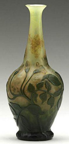 Daum Nancy Glass; Cameo, Vase, (Bud), Wheel Carved, Leaves, 6 inch.