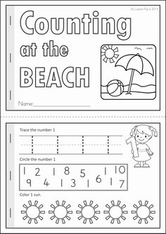 Kindergarten SUMMER Review Math & Literacy Worksheets & Activities. 104 pages. A page from the unit: counting at the beach booklet
