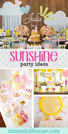 Sunshine Party: 10 You Are My Sunshine Parties you will LOVE. Looking for some awesome sunshine party ideas. Sunshine and bright colors make for the perfect springtime birthday party. Today I'm sharing some simply adorable Sunshine Birthday Parties. Sunshine Birthday Parties, 1st Birthday Party For Girls, First Birthday Themes, Summer Birthday, First Birthdays, Birthday Ideas, Turtle Birthday, Turtle Party, Colorful Birthday Party