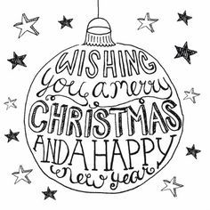 Wishing you a merry Christmas and a happy new year Christmas Drawing, Christmas Doodles, Christmas Time, Christmas Crafts, Doodle Lettering, Brush Lettering, Typography, Xmas Cards, Diy Cards