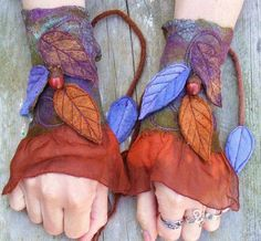 Felt Faery Cuffs - nuno felt cuffs- pixie gloves - forest gloves - acorn leafy cuffs - fairy costume Good idea, different colours Psytrance Clothing, Faerie Costume, Diy Vetement, Vintage Gloves, Fairy Clothes, Fairy Dress, Nuno Felting, Felt Art, Mitten Gloves
