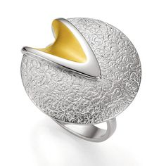 Breuning Yellow Gold Plated Etched Ring