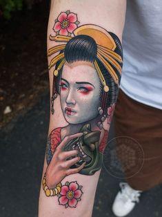 Neotraditional geisha and menpo mask by me Logan Bramlett Wanderlust Tattoo Society Akron Ohio Japan Tattoo Design, Geisha Tattoo Design, Tattoo Design Drawings, Tattoo Designs Men, Hanya Tattoo, P Tattoo, Mask Tattoo, Color Tattoo, Traditional Tattoo Girls