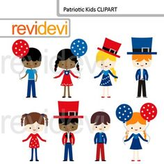 Patriotic kids clip art features multi racial boys and girl in red and blue costumes. Great for independence day projects. Clipart resource for teachers for creating America 4th of July celebration TpT materials.This digital clipart set is great for teachers author seller.