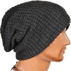 Mens Slouchy Long Beanie Knit Cap for Summer Winter Oversize (Dark Gray) Z&S...