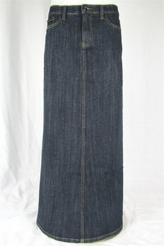 long jean skirt $38 // this website has cute Jean skirts
