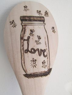 Wood Burned Spoon Lightning Bug Love by RedeemedDustDesigns