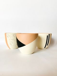 Excited to share this item from my shop: Hand Painted Antique White Cream, Black Dipped Abstract Terra Cotta Planter // Terracotta Pot Mexican Handmade Drainage Ceramic Clay Boho Bo Recycled Planters, Concrete Planters, Diy Planters, Ceramic Planters, Painted Plant Pots, Painted Vases, Hand Painted Ceramics, Pots D'argile, Clay Pots