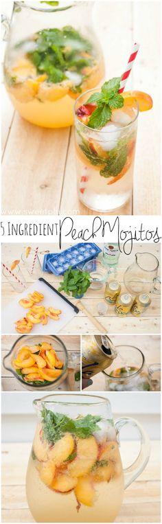 5 ingredient peach mojitos, peach mojito, mojito cocktails, cocktail recipes, cocktails, mojito recipe, peach mojito recipe