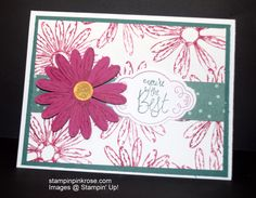 Stampin' Up! Thank You card made with Daisy Delight stamp set and designed by Demo Pamela Sadler. This card is truly in bloom. See more cards at stampinkrose.com and #etsycardstrulyheart