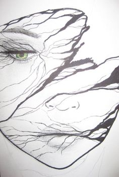 Face with twigs.