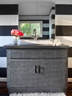 Transform an Old Vanity With Vinyl Wallpaper - DIY Wallpaper Projects to Dress Up Your Home on HGTV