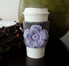 Coffee Sleeve Coffee Cozy Grey Flower Applique *** To view further for this item, visit the image link.