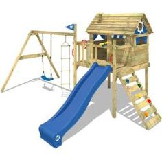 Win your children's heart with the Wickey Smart Travel tower playhouse with slide and swing. Your children will love spending lots of time in this spacious playhouse. More climbing frames and garden playground equipment can be found in our online shop ♥ Wooden Climbing Frame, Wooden Swings, Climbing Frames, Backyard Playground, Backyard For Kids, Kids Playhouse With Slide, Garden Playhouse, House On Stilts