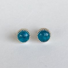 genuine neon apatite 8mm smooth round stud earrings with 925 sterling silver bezel and post by jewelrybyelisha on Etsy $41.00