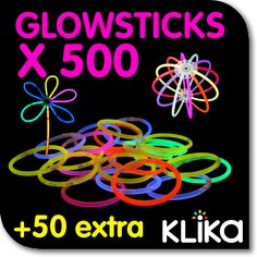 500 + 50 x COLOURED GLOW LIGHT STICKS PARTY GLOWSTICKS BRACELETS IN ...