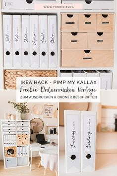 IKEA Hack – Pimp my Kallax with New Swedish Design – DIY free folder spine template for printing and labeling of folders – Binderlabel Rückenschild folder labels Expedit Home Organisation, Office Organization, Home Office Storage, Home Hacks, Diy Hacks, Diy Design, Free Design, Ikea Closet Hack, Ikea Kallax Hack