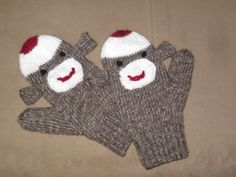 Sock monkey mittens for kids and adults! (Free pattern)