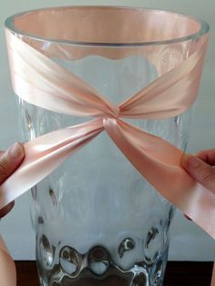 Twisted Ribbon and Bow Wrapped Vase