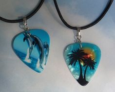 Leather Necklace - Beach Guitar Pick Jewelry - Dolphins or Palm Trees - Custom Style & Size