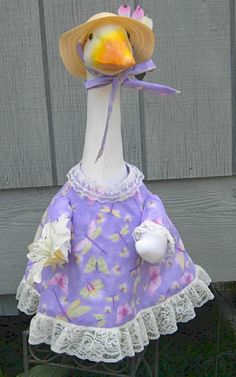 "Dragonflies, butterflies, fireflies on this pretty summer outfit for 24-27"" cement lawn goose by KraftKorner on Etsy"