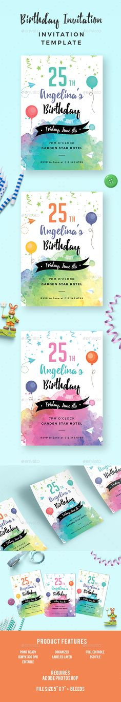 Check out new work on my @Behance portfolio  - birthday invitation card template photoshop