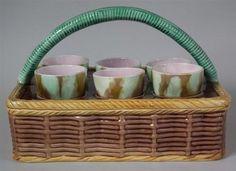 Majolica Basketweave Egg cup Cruet Set