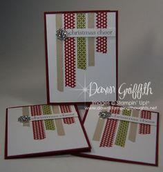 Washi Tape Christmas cards, Frosted Finishes embellishments