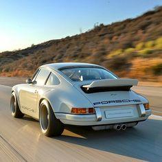 Singer Porsche with it's spoiler up