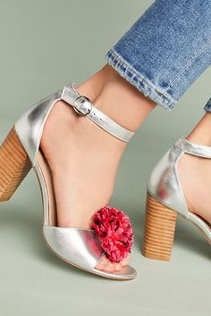 Anthropologie Raffia Pom Heels