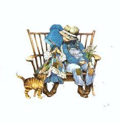 Holly & Robby sentados en banca con gatito niño y niña vestidos de azul Sarah Kay, Holly Hobbie, Applique Pillows, Hobbies For Men, Cute Illustration, Cute Art, Paper Dolls, Childhood Memories, Little Girls